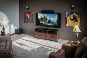 Living room home theater surround sound system