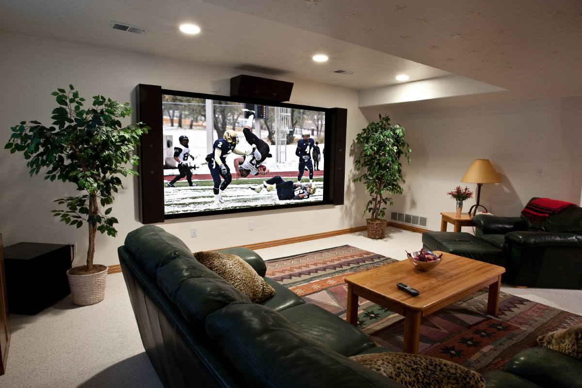 new media room design with 4k projector