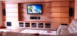 Living room TV-wall and speaker design